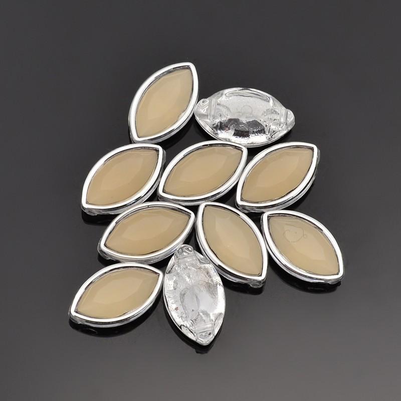 PandaHall Sew on Taiwan Acrylic Silver Plated, Garment Accessories, Horse Eye, NavajoWhite, 12x8x5mm, Hole: 1mm Acrylic Horse Eye Orange