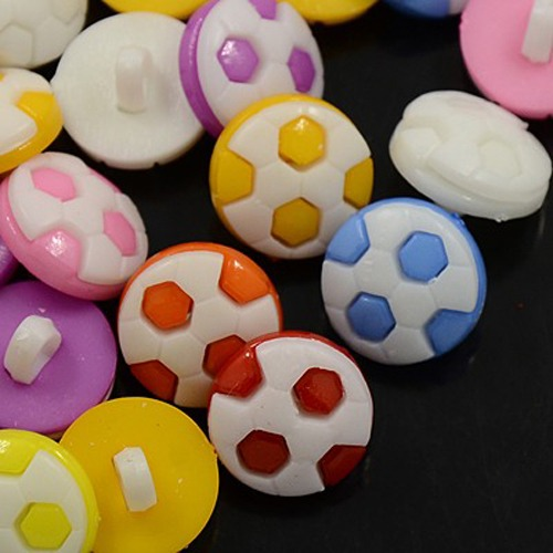 PandaHall Acrylic Shank Buttons, 1-Hole, Dyed, Football/Soccer, Mixed Color, 16x4mm, Hole: 4x2mm Acrylic Half Round Multicolor