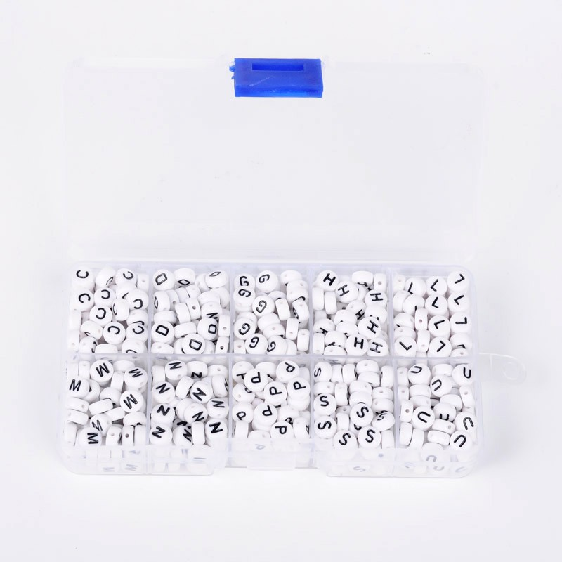 PandaHall 1 Box Letter Acrylic Beads, Flat Round, Letter L/G/H/S/C/D/M/N/P/U, White, 7x4mm, Hole: 1mm; about 62pcs/compartment, 620pcs/box...