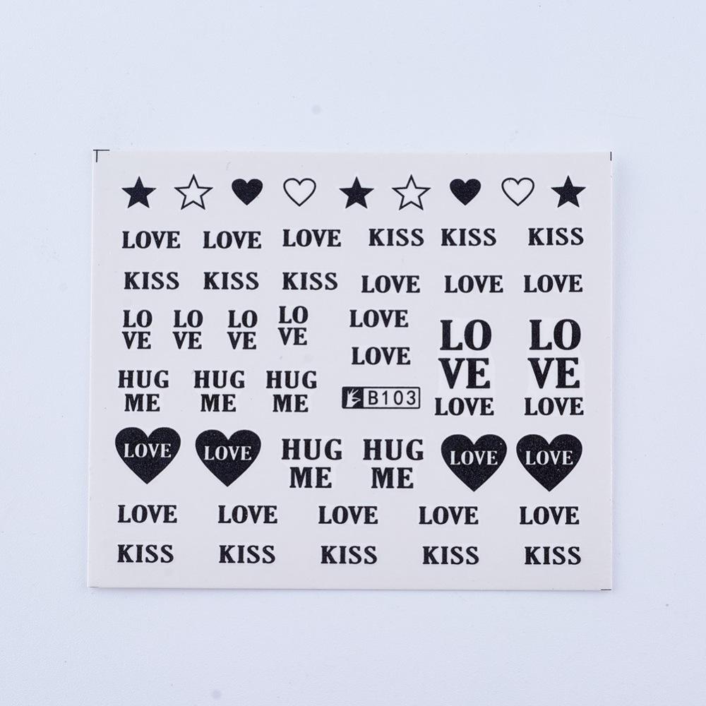 PandaHall Nail Art Stickers, Rectangle, Love Theme Pattern, White, 61x53mm Paper Others White