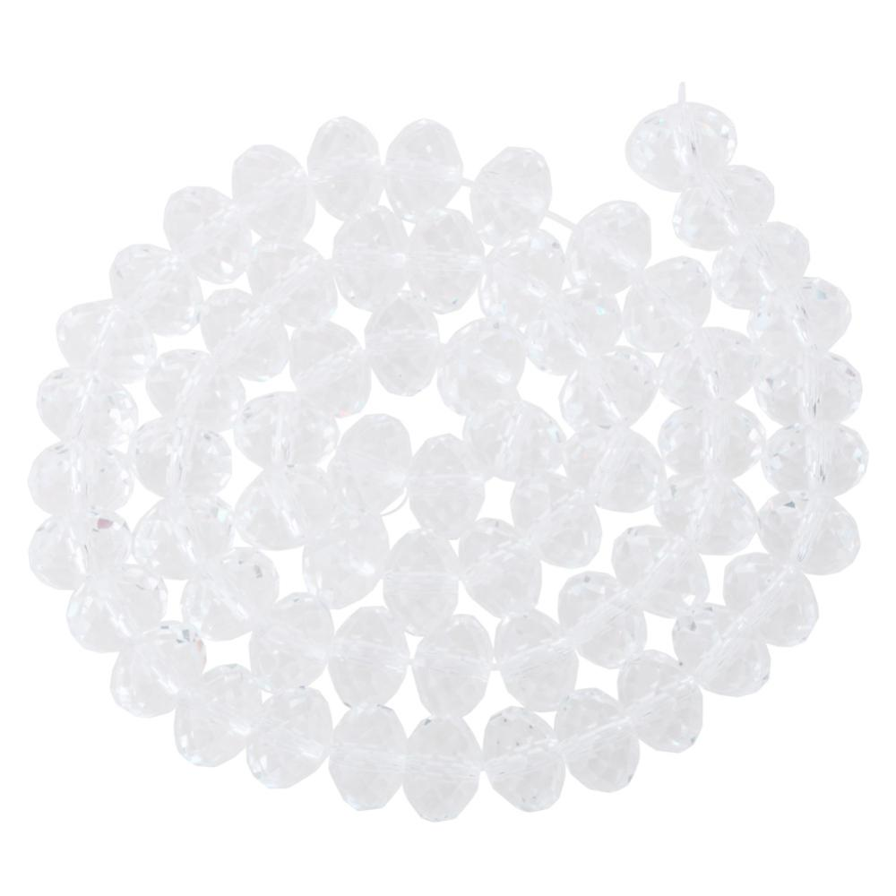 "PandaHall Faceted Rondelle Imitation Austrian Crystal Bead Strands, Grade AAA, Clear, 8x5mm, Hole: 1mm,  about 68pcs/Strands, 14.17"" Glass..."