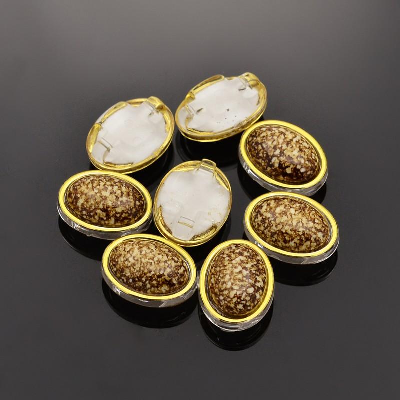 PandaHall Sew on Taiwan Acrylic, Garment Accessories, Oval, DarkGoldenrod, 13x11x7mm, Hole: 1mm Acrylic Oval Gold
