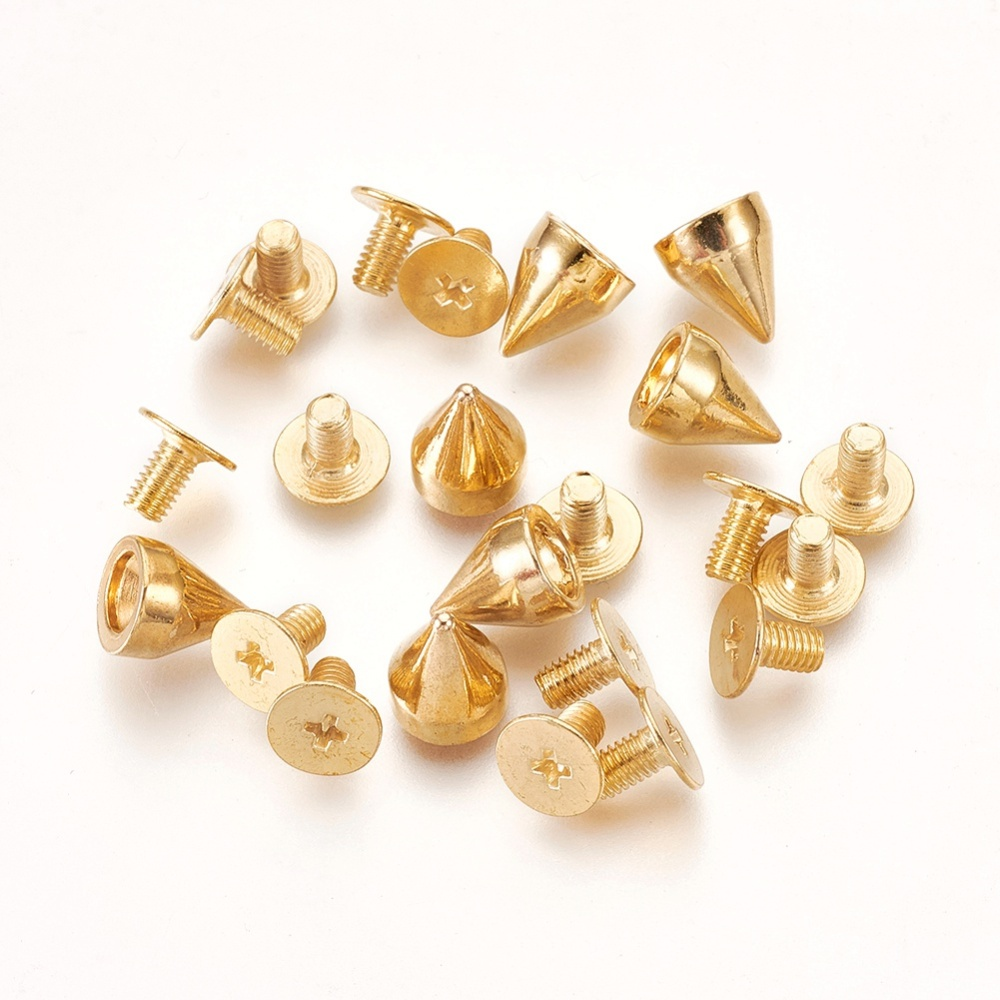 PandaHall Alloy Rivets, Screw Back, Rivets for Punk Jewelry, Cone, Golden, 5.6x7mm Alloy Cone
