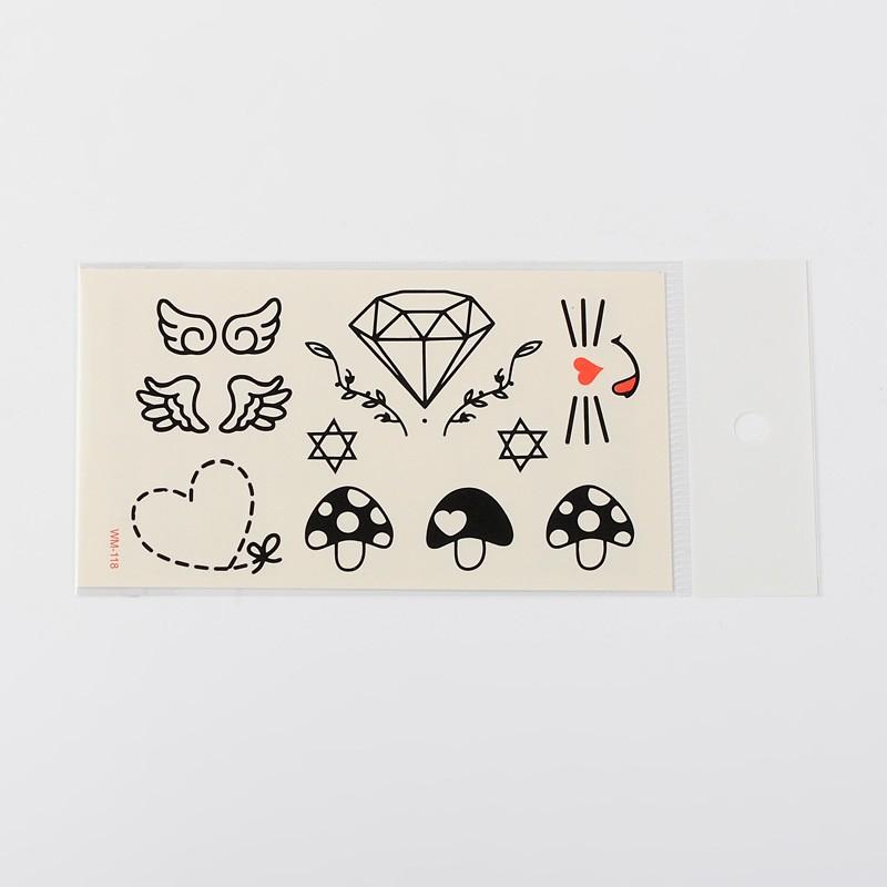 PandaHall Mixed Shapes Body Art Removable Fake Temporary Tattoos Paper Stickers, Black, 1~23x1~27mm; 1pcs/bag Paper Mixed Shapes Black