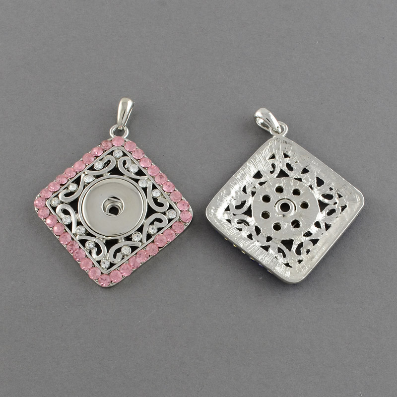 PandaHall Brass Snap Pendant Makings Fit Snap Button, with Rhombus Zinc Alloy Rhinestone Settings, Grade A, Light Rose, 54x49x5mm, Hole...
