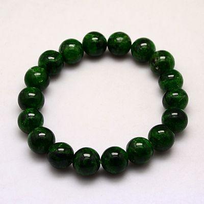 PandaHall_Natural_Elastic_Diopside_Bracelets,_DarkGreen,_55mm;_10mm_Gemstone_Green
