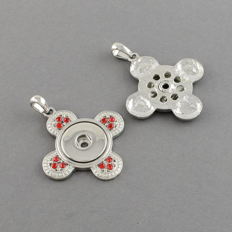 PandaHall Brass Snap Pendant Makings Fit Snap Button, with Flower Zinc Alloy Rhinestone Settings, Grade A, Light Siam, 42x46x5mm, Hole...