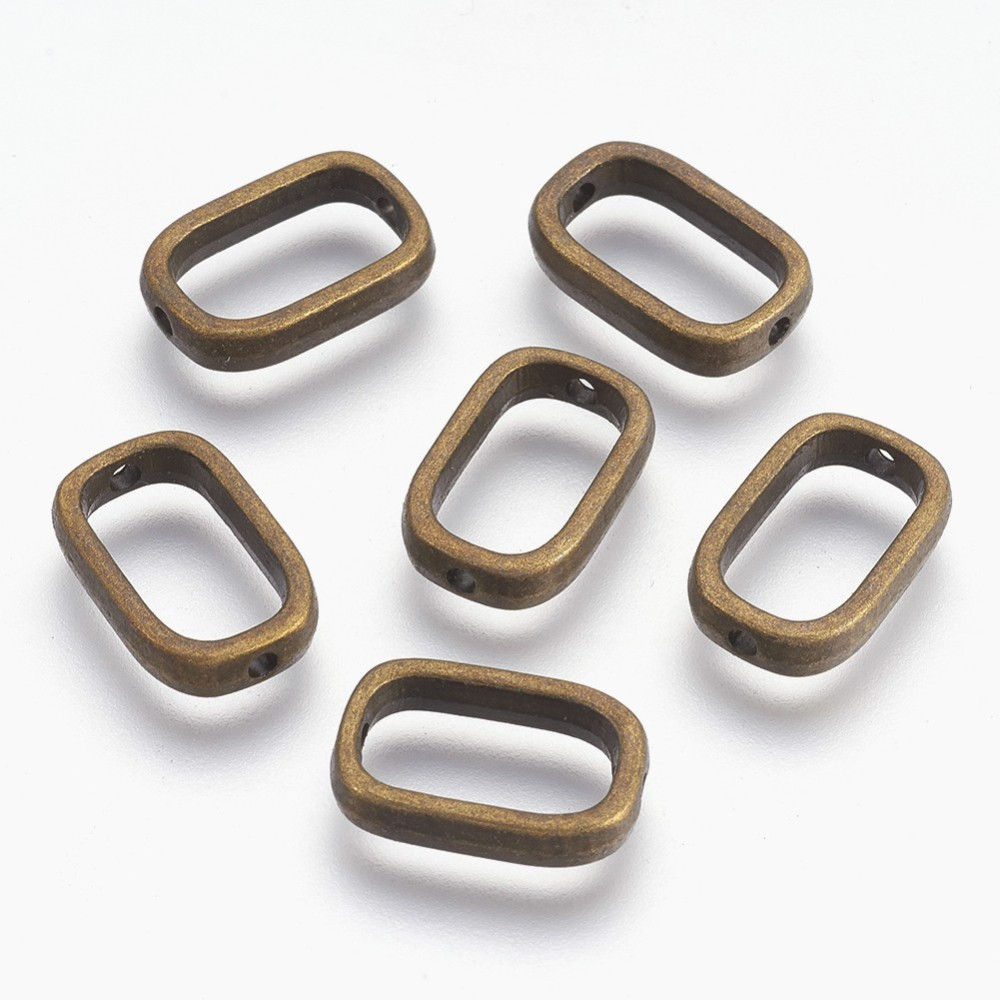 PandaHall Tibetan Style Bead Frames, Lead Free & Cadmium Free, Rectangle, Antique Bronze Color, about 17mm long, 11mm wide, 4mm thick, hole...