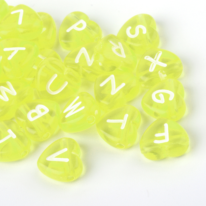 PandaHall Transparent Acrylic Letter Beads, Heart, GreenYellow, 10.5x11.5x4.5mm, Hole: 2mm Acrylic Heart Green