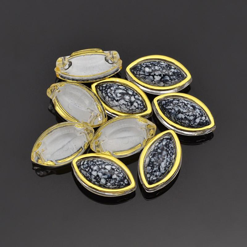 PandaHall Sew on Rhinestone, Taiwan Acrylic, Golden Plated, Garment Accessories, Horse Eye, Black, 12.5x7.5x6mm, Hole: 1mm Acrylic Horse Eye...