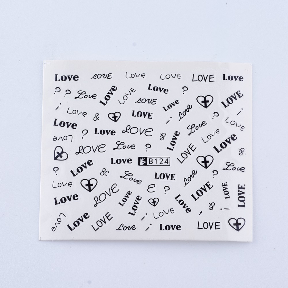 PandaHall Nail Art Stickers, Rectangle, Word Pattern, White, 61x53mm Paper Others White