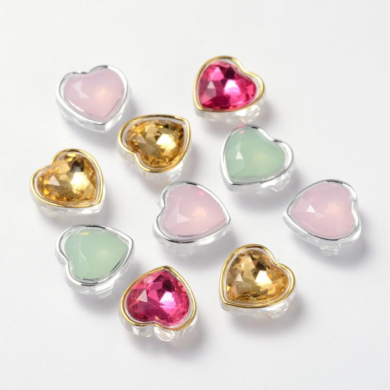 PandaHall Sew on Taiwan Acrylic, Garment Accessories, Mixed Style, Heart, Mixed Color, 12x12x7mm, Hole: 1mm Acrylic Heart Multicolor