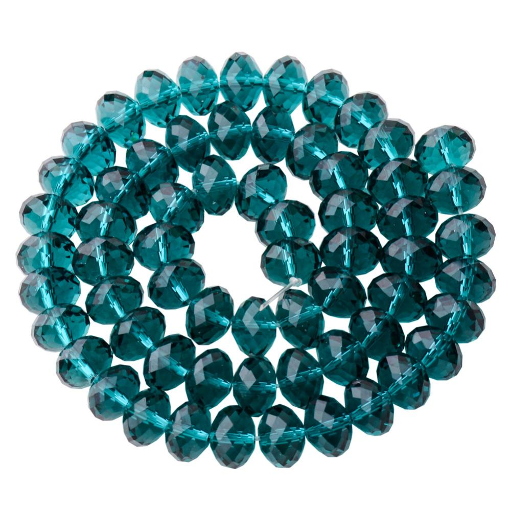 "PandaHall Faceted Rondelle Imitation Austrian Crystal Bead Strands, Grade AAA, DarkCyan, 8x5mm, Hole: 1mm,  about 68pcs/Strands, 14.17""..."