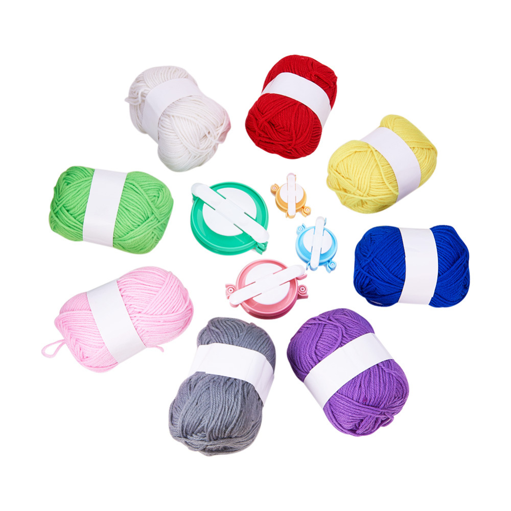 PandaHall DIY Craft Sets, with Polyacrylonitrile Fiber Yarn and Lint Remover Four-piece Sets, Mixed Color, Yarn: 2~3mm, 100m/roll; tool...