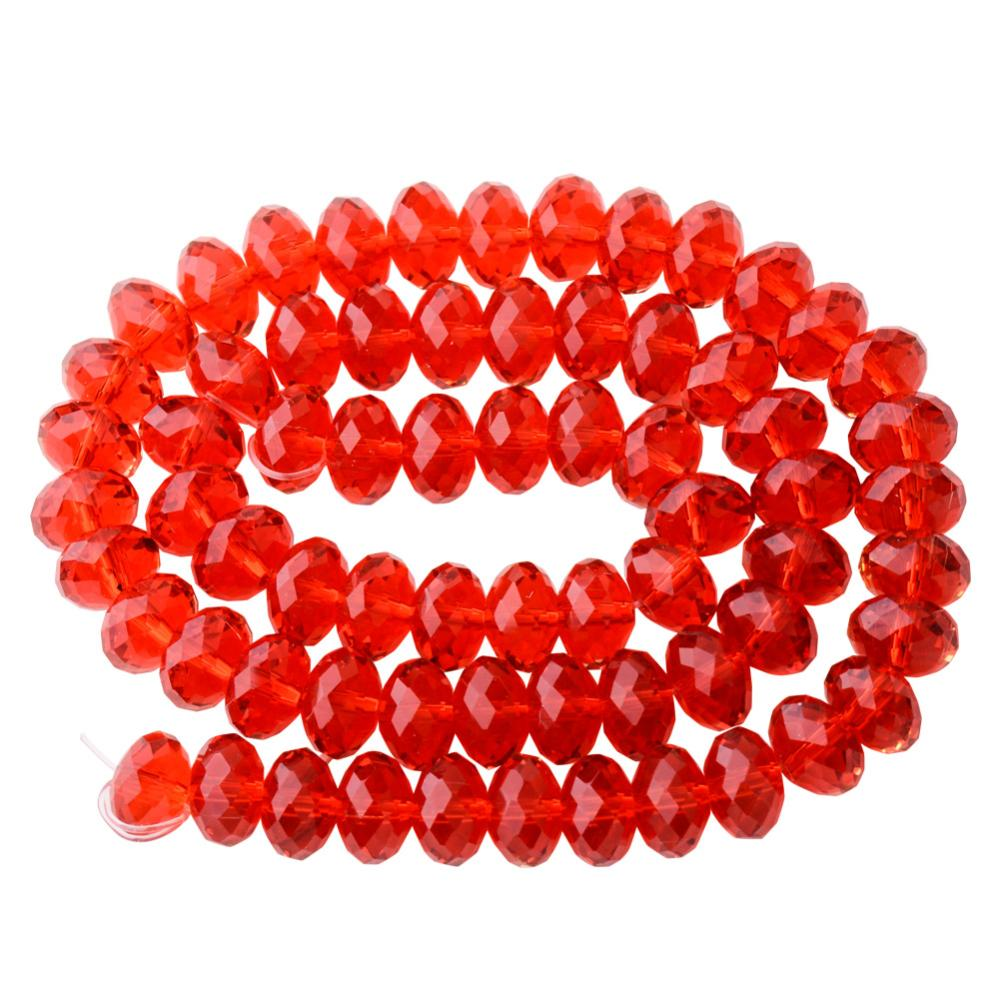 "PandaHall Faceted Rondelle Imitation Austrian Crystal Bead Strands, Grade AAA, Red, 8x5mm, Hole: 1mm,  about 68pcs/Strands, 14.17"" Glass..."