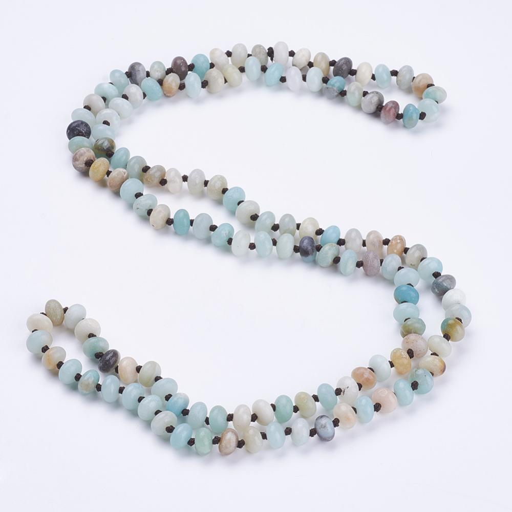 """PandaHall_Natural_Amazonite_Beaded_Multi-use_Necklaces_Wrap_Bracelets,_Three-Four_Loops_Bracelets,_Abacus,_37.4""""(95cm)_Amazonite"""
