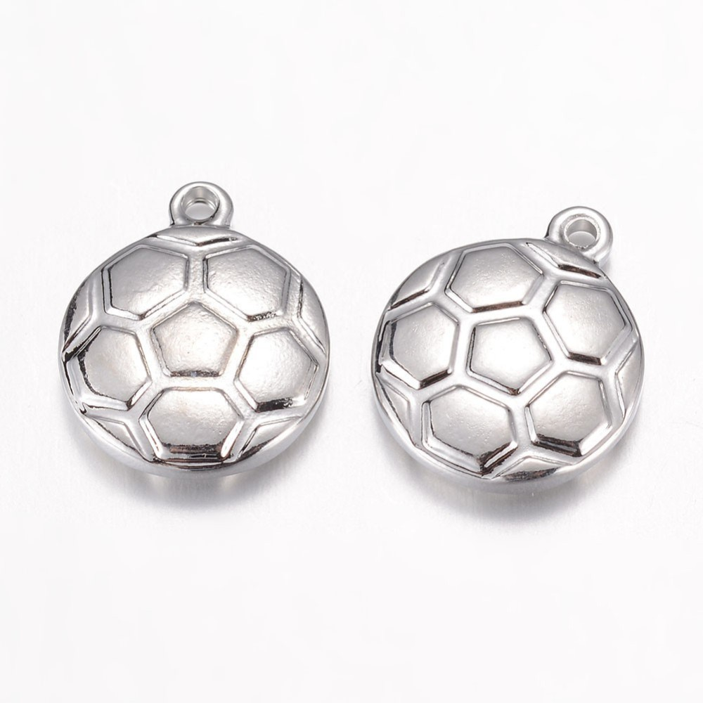 PandaHall 304 Stainless Steel Charms, Football/Soccer, Stainless Steel Color, 15.5x13x3.5mm, Hole: 1mm Stainless Steel Sports Goods
