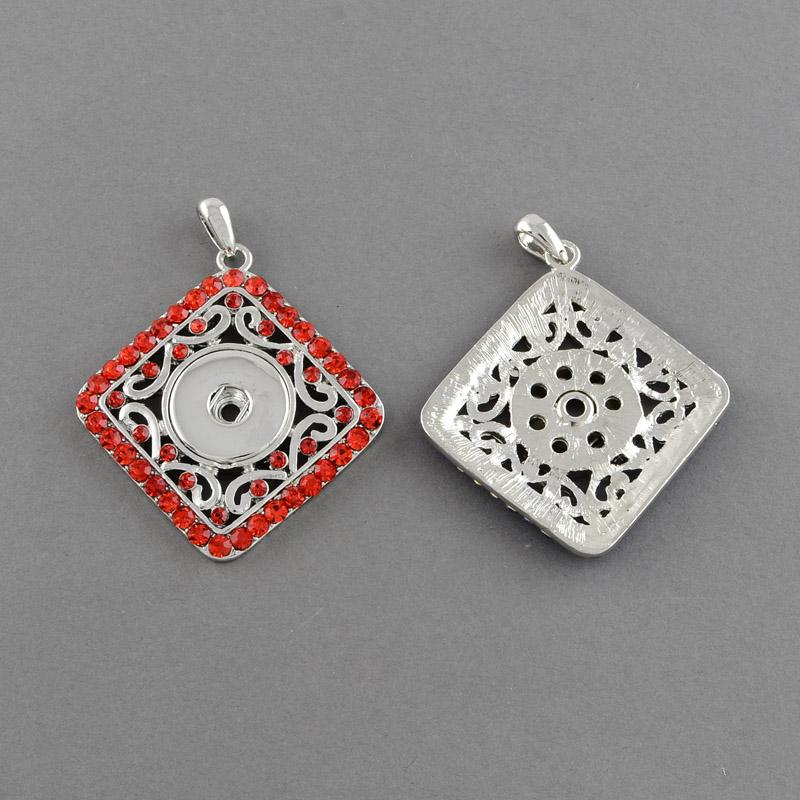PandaHall Platinum Plated Brass Snap Pendant Makings Fit Snap Button, with Rhombus Zinc Alloy Rhinestone Settings, Grade A, Hyacinth...