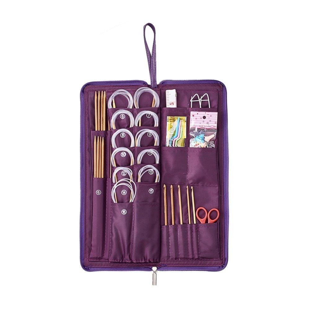 PandaHall 134pcs Bamboo Knitting Tool Kits, Mixed Color, 385x135x42mm Bamboo Multicolor