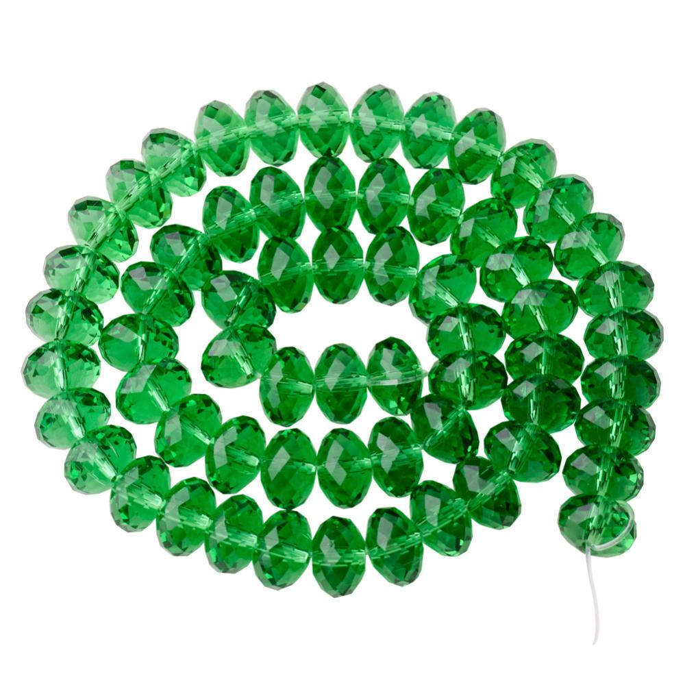 "PandaHall Faceted Rondelle Imitation Austrian Crystal Bead Strands, Grade AAA, Green, 8x5mm, Hole: 1mm,  about 68pcs/Strands, 14.17"" Glass..."