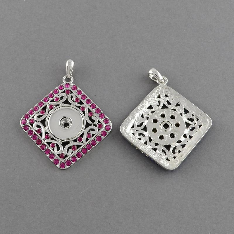 PandaHall Platinum Plated Brass Snap Pendant Makings Fit Snap Button, with Rhombus Zinc Alloy Rhinestone Settings, Grade A, Rose, 54x49x5mm...